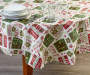 Elf Typography Holiday PEVA Round Tablecloth 60 inch lifestyle