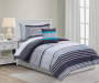 Eli Gray Stripe 6 Piece Twin Reversible Comforter Set Gray Side Up On Bed Lifestyle Image