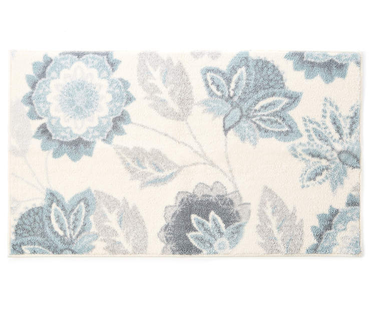 Ellie Blue Floral Accent Rug 1 feet 8 inch x 2 feet 10 inch silo front