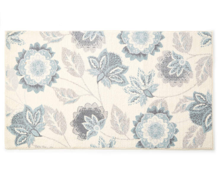 Ellie Blue Floral Accent Rug 2 feet 4 inch x 4 feet silo front