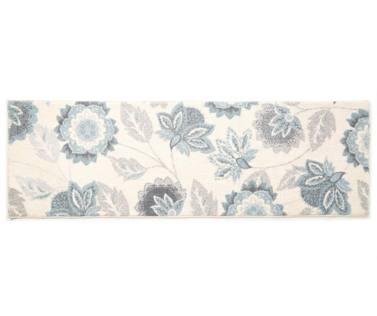 Ellie Blue Floral Accent Runner 1 feet 8 inch x 5 feet silo front