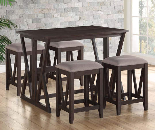 Espresso Brown Folding Dining Table