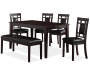 Espresso 6-Piece Dining Set with Bench