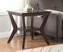 Espresso Beveled Glass Coffee End Table Decorated Room View