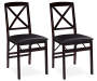Espresso Cross Back Folding Chairs 2 Piece Set silo front