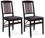 Espresso Mission Back Folding Chairs 2 Piece Set silo front