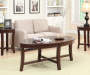 Espresso Wood 3 Piece Occasional Table Set Decorated Room View
