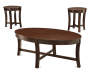 Espresso Wood 3 Piece Occasional Table Set with Table and End Tables Silo Image