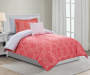 Etty Coral 6 Piece Twin Reversible Comforter Set Coral Side Up On Bed Lifestyle Image