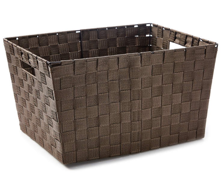 Extra Large Brown Woven Strap Bin silo angled
