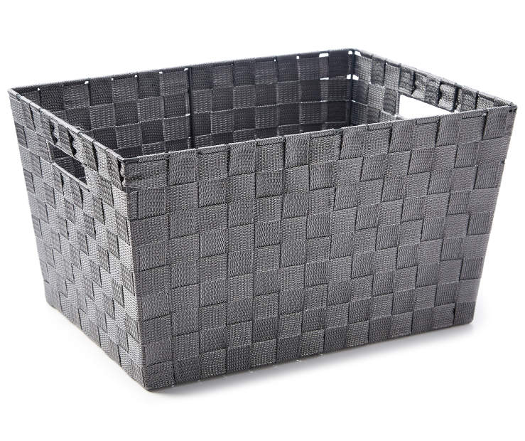 Extra Large Gray Woven Strap Bin silo angled