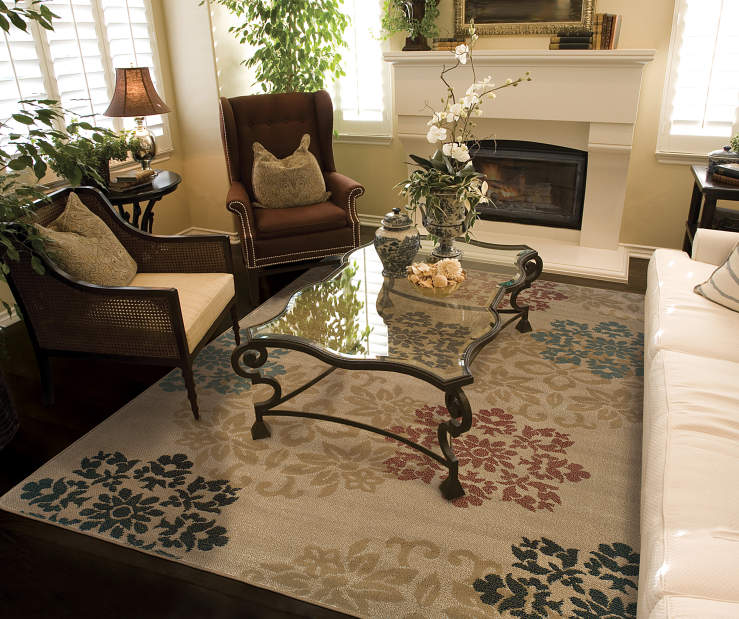 Fairview Gold Area Rug 5 Feet by 7 Feet 3 Inches Living Room Environment with Furniture Lifestyle Image