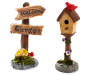 Fairy Garden Welcome Sign and Bird House Decor Set  2 Piece silo front