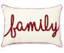 Family Tan and Red Lumbar Throw Pillow 13 inch x 18 inch silo front