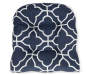 Fandango Navy Blue Quatrefoil Reversible Outdoor Wicker Chair Cushion Silo Quatrefoil Seat Pad