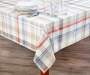 Farmhouse Red and Blue Plaid Fabric Tablecloth 60 inches x 102 inches On table with glassware
