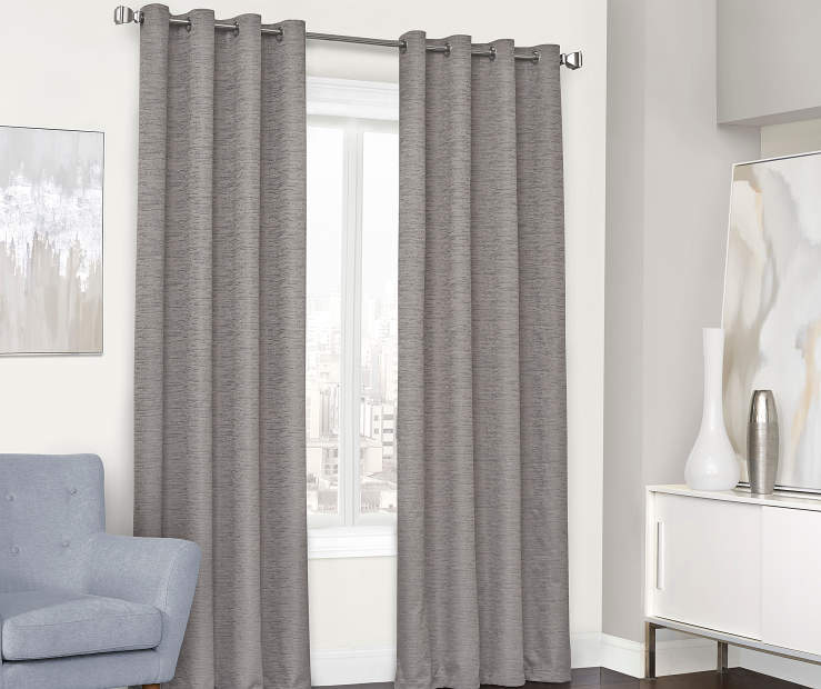 Farron Gray Blackout Curtain Panel 84 Inches Window View