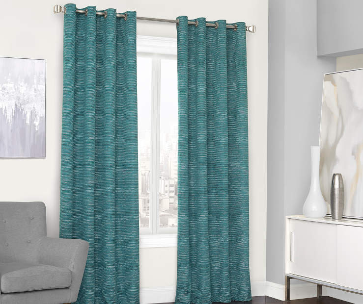 Farron Teal Blue Blackout Curtain Panel 95 Inches Window View