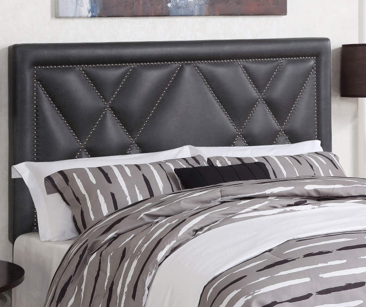 Faux Leather 'X' PatternSteel Gray Faux Leather X Upholstered FullQueen Headboard with Nailhead Trim bedroom setting