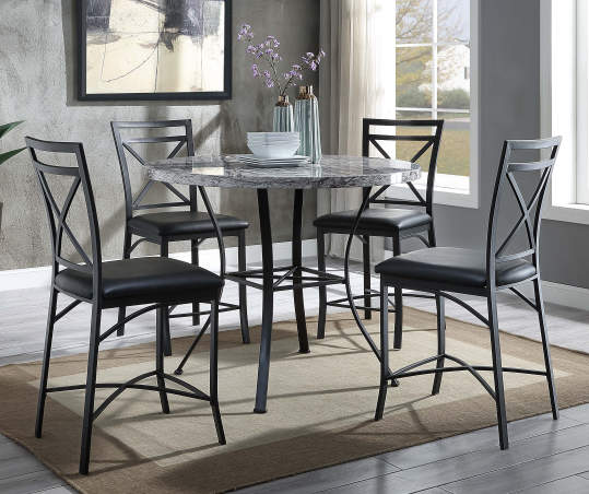 Faux Marble 5 Piece Pub Dining Set, Big Lots Dining Room Table