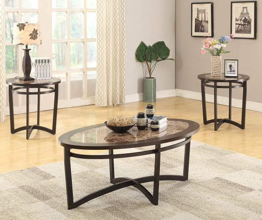 Faux Marble Wood 3 Piece Occasional Table Set Big Lots