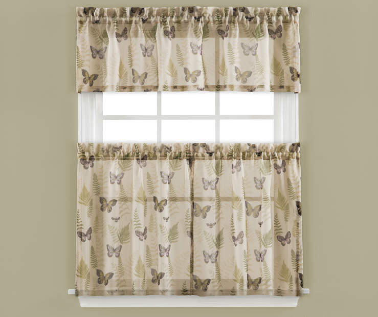 Ferndale Butterfly Tier and Valance 3 Piece Set On Window Lifestyle Image