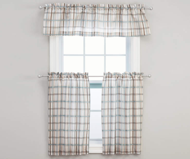 Fletcher Blue Tier and Valance Set, 3-Piece On Window Gray Wall