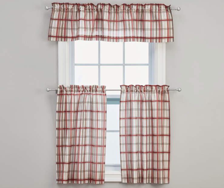 Fletcher Red Tier and Valance Set, 3-Piece On Window Gray Wall