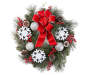 Flocked Snowflake and Ornament Wreath 24 inch silo front