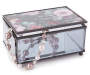 Floral Glass Décor Box Silo Angled Lid Closed with Jewelry