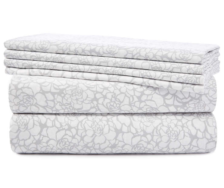 Floral Gray Silhouette Queen 6 Piece Sheet Set silo front