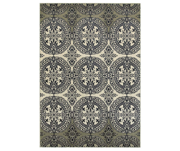 Florence Navy Area Rug 3FT10IN x 5FT5IN Silo Image