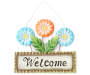 "Flower Trio ""Welcome"" Metal Wall Decor with Two Blue and One Red Flowers Overhead View Silo"