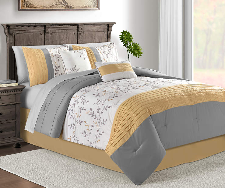 Foliage Yellow and Gray King 10 Piece Comforter Set Lifestyle Image Bedroom