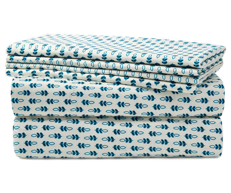 Folk Blue Floral Queen 6 Piece Sheet Set silo front