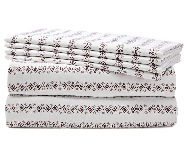 Folk Blue and Burgundy Stitch Queen 6 Piece Sheet Set silo front