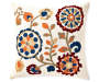 Folk Floral Textured Throw Pillow 18 inch x 18 inch silo front