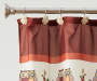 Folk Red and Cream Plaid Owl Shower Curtain and Hooks Set lifestyle