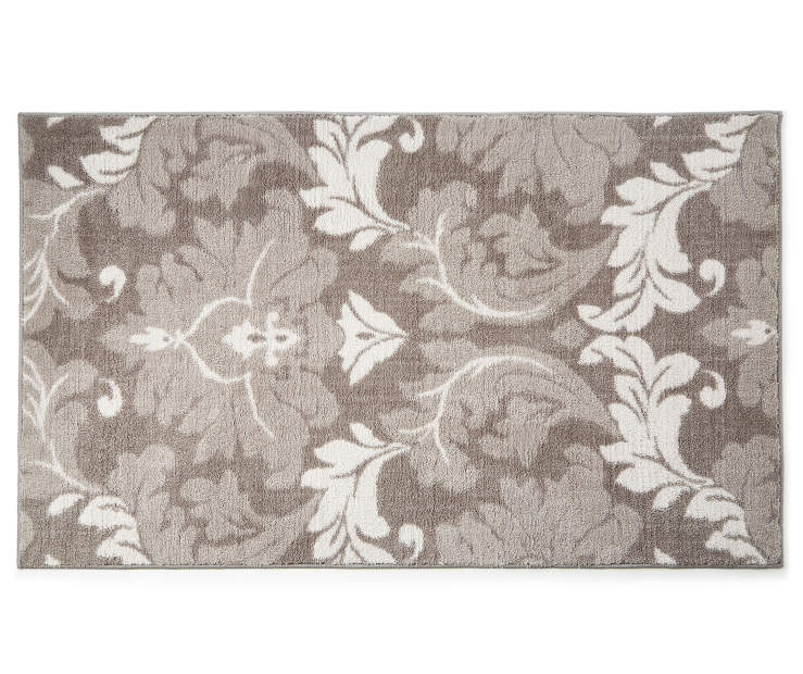 Francois Gray Damask Accent Rug 2 feet 4 inches x 4 feet silo front