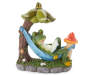 Frog in Hammock Solar Light Silo Front View