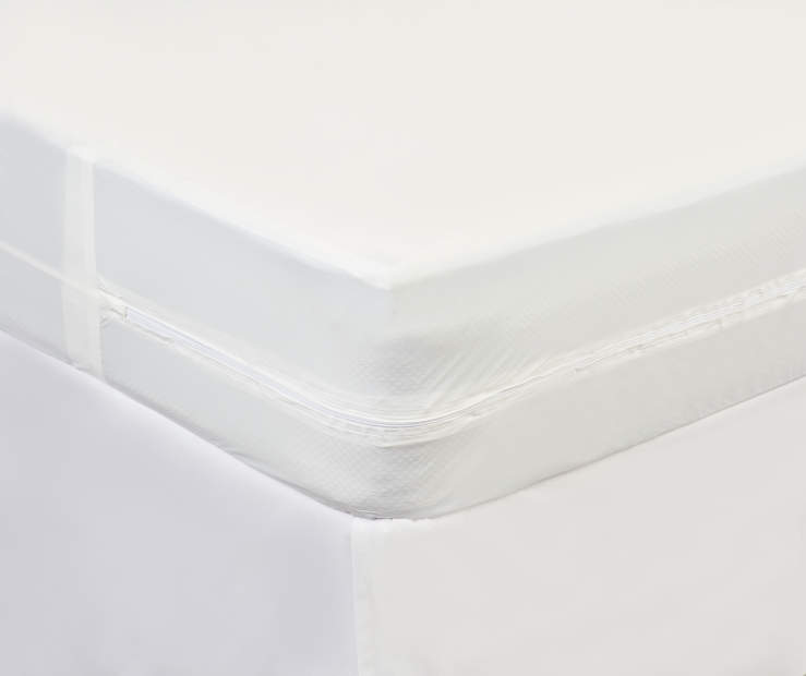 Full Zippered Vinyl Protective Mattress Cover lifestyle on bed
