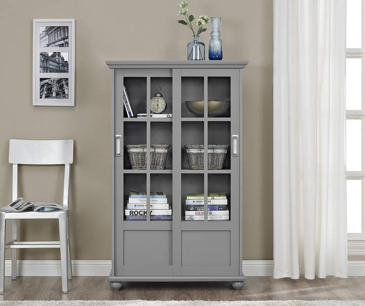 GREY GLASS DOOR BOOKCASE