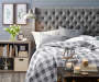GREY TWEED WINGED TUFTED BED