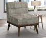 GREY WOOD BASE ACCENT CHAIR