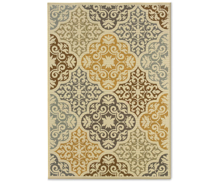Gaines Warm White Indoor Outdoor Area Rug 5 feet 3 inch x 7 feet 6 inch silo front