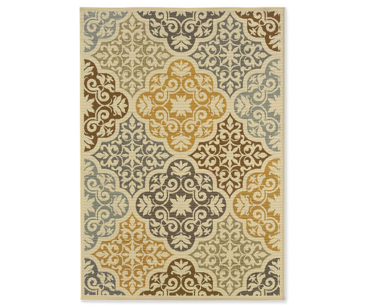 Gaines Warm White Indoor Outdoor Area Rug 7 feet 10 inch x 10 feet 10 inch silo front