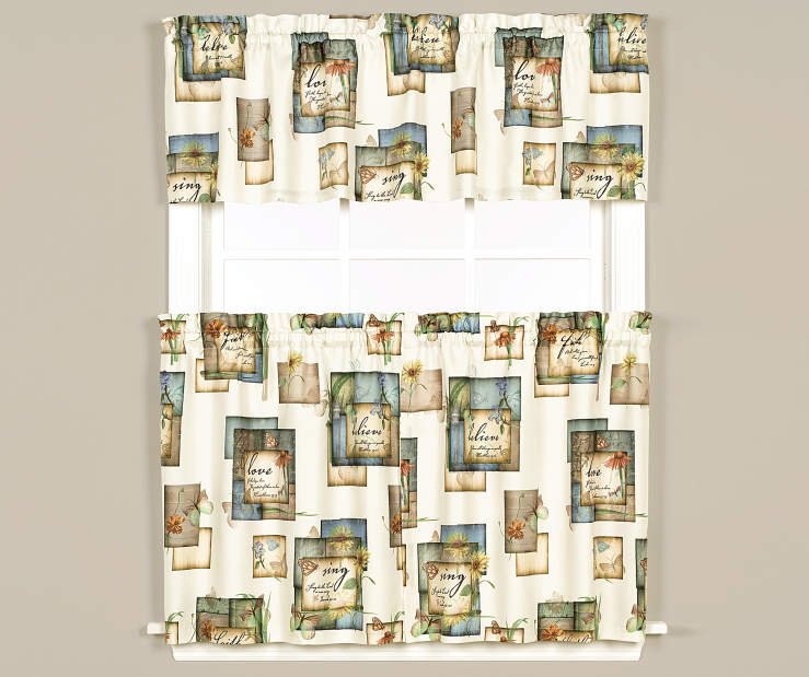 Garden Love 3 Piece Tier and Valance Set On Window Room Environment Lifestyle Image