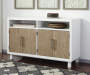 Gardomi White and Brown Server Cabinet lifestyle living room