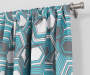 Garrick Aegean Teal Geo Blackout Single Curtain Panel 95 inches Cropped Lifestyle