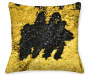 Gold & Black Mermaid Sequin Pillow 17in silo front view